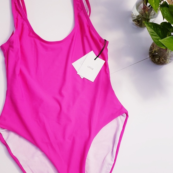 Anthropologie Other - New ONIA | Neon Pink Backless High Cut Swimsuit